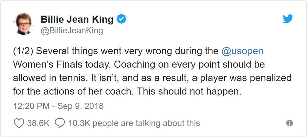 Billie Jean King on Serena Williams