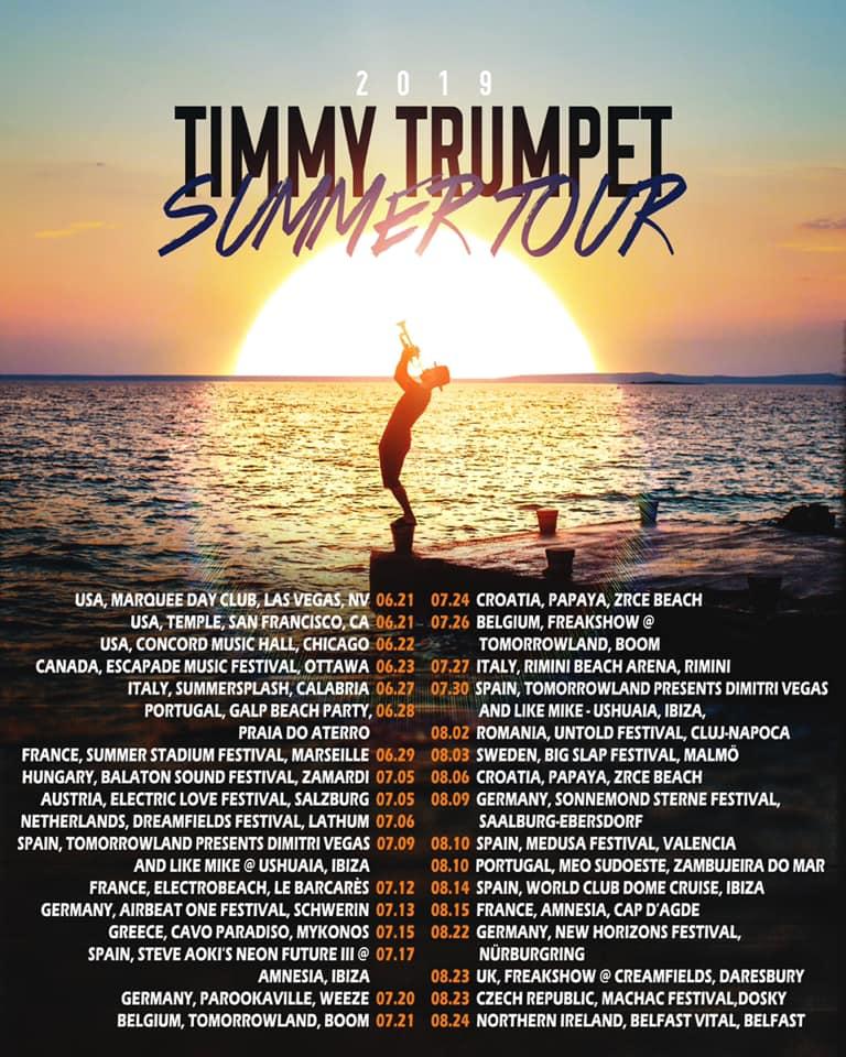 Timmy Trumpet Summer Tour 2019