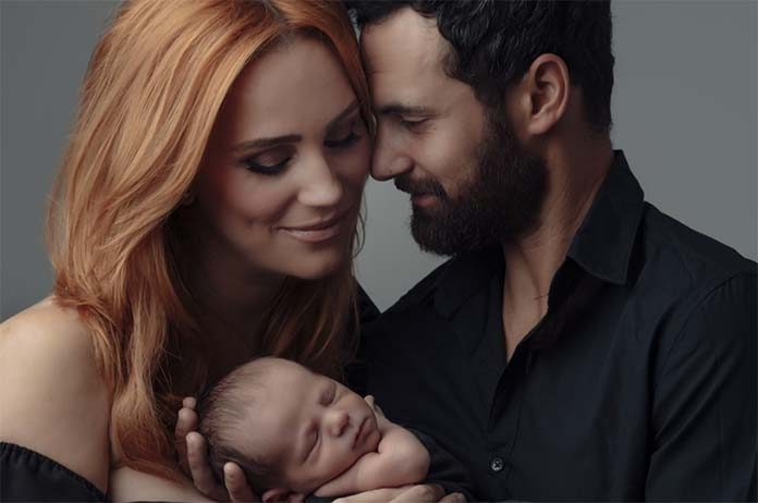 Jules Robinson and Cameron Merchant with Baby Oliver